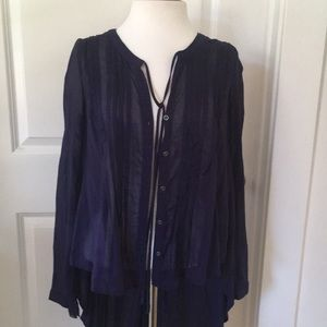 Free People sheer navy blue cotton top